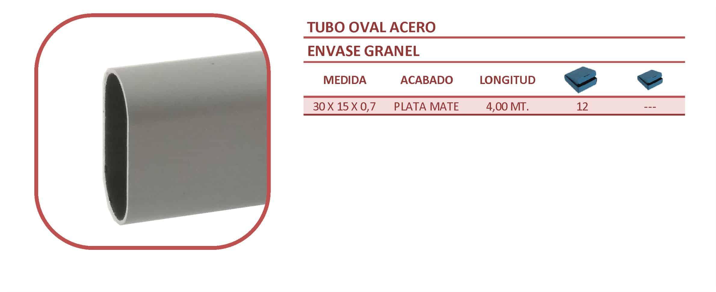 Tubo oval 30x15 acero plata mate para armarios y vestidores